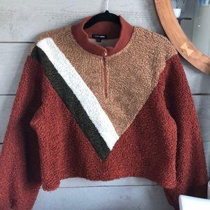 Fashion Nova cropped teddy sweater